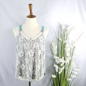 Rewind Lace Overlay Tank Top Size L